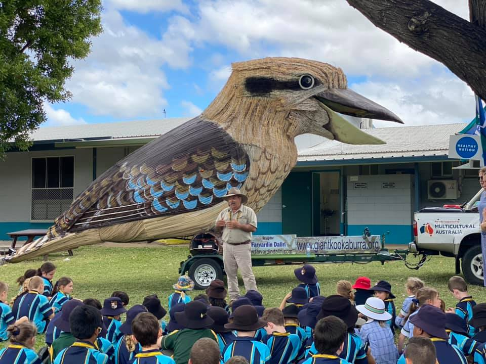 Kookaburra with Dr Farvardin Daliri speaking to children