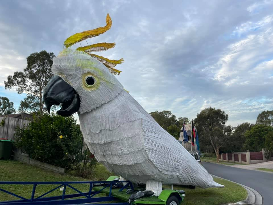 Giant Talking Cockatoo on a trailer