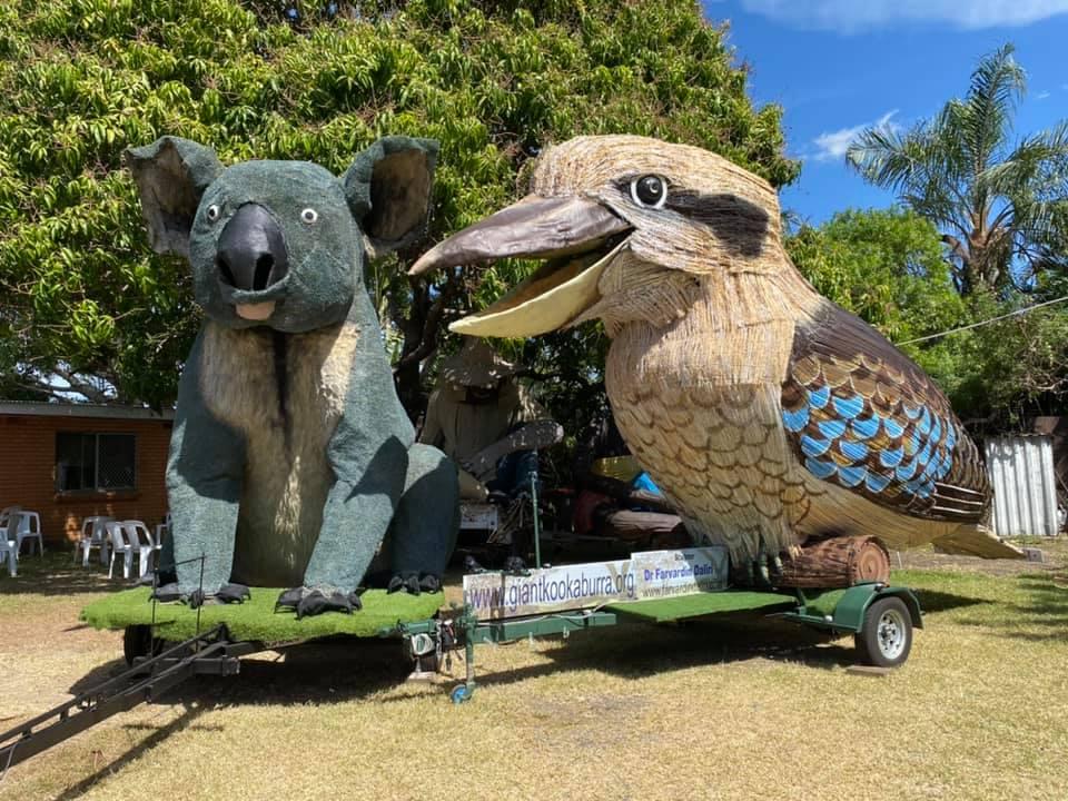 Giant Kookaburra and Giant Koala sculptures